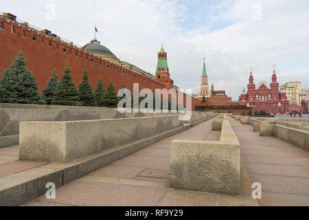Moscow, Russia- 23 September 2014: View of the Moscow Kremlin and Lenin's Mausoleum on the Red Square. Iconic resting place of Vladimir Lenin. - Stock Photo