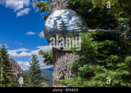 Squaw Valley is a ski resort near Lake Tahoe in Olympic Valley, California that is open for hiking in summer. - Stock Photo