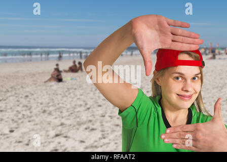Happy girl on a sand beach in the summer. - Stock Photo