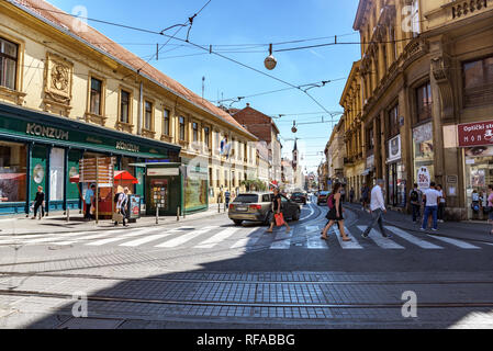Square Ban Josip Jelacic with tourists on a summer day in Zagreb - Stock Photo