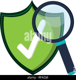 certified badge and magnifying glass symbols - Stock Photo