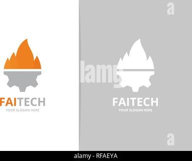 Vector fire and gear logo combination. Flame and mechanic symbol or icon. Unique torch and industrial logotype design template. - Stock Photo