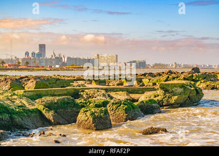 Landscape coastal scene at spring time in montevideo city, the capital of Uruguay - Stock Photo