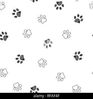 Black and white paw print repeated pattern - Stock Photo