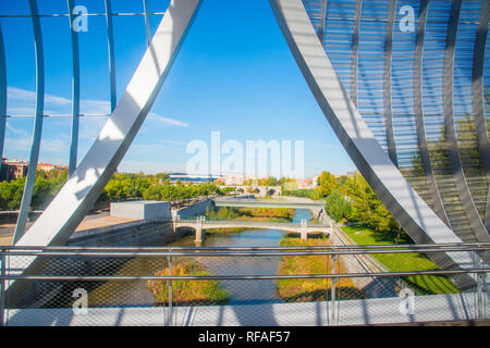 River Manzanares from Perrault bridge. Madrid Rio park, Madrid, Spain. - Stock Photo