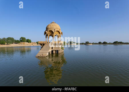 indian landmarks Gadi Sagar temple on Gadisar lake Jaisalmer, Rajasthan, north India - Stock Photo