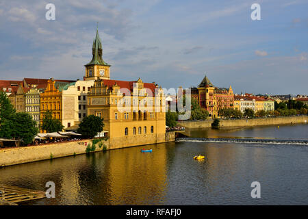 View along River Vltava toward the Bedrich Smetana Museum building and old town Prague from Charles Bridge, Czech Republic - Stock Photo