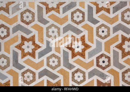 mosaic marble design on Baby Taj or Itimad-ud-Daulah Tomb, india - Stock Photo