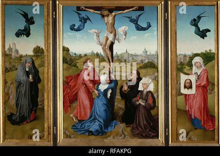 Triptych: The Crucifixion. Date/Period: From 1443 until 1445. Painting. Oil on panel. Height: 96 cm (37.7 in); Width: 140 cm (55.1 in). Author: ROGIER VAN DER WEYDEN. WEYDEN, ROGIER VAN DER. - Stock Photo