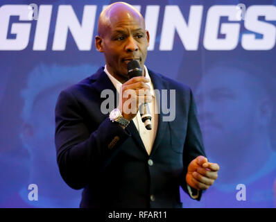 Old Trafford Stadium, Manchester, UK. 24th January 2019.   Betfred Super League 2019 Official Season Launch, Ellery Hanley MBE  Credit: Touchlinepics/Alamy Live News - Stock Photo