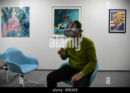 Milan, 24 January 2019 - Back Affordable Art Fair, the contemporary art fair that over the years has conquered the heart of the Milanese, bringing in their homes beauty, creativity and emotions contained in the works, for sale up to 6,000 euros. Lose yourself in art is the slogan and fil rouge of the 2019 edition, scheduled for Superstudio Più from 25 to 27 January (inauguration on 24th evening by invitation or online presale), with the participation of 85 galleries from all over the world. So many new features in the labyrinthine space of Affordable Art Fair, because to find yourself sometim - Stock Photo