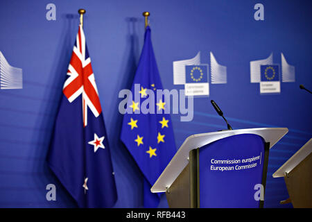 European union flag and flag of  New Zealand in the European Council building in Brussels, Belgium on Jan. 25, 2019 - Stock Photo