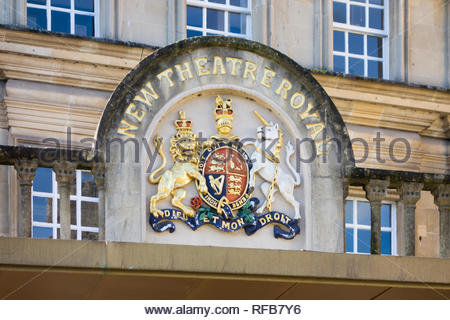 Sign above the (New) Theatre Royal in Bath, Somerset, England, UK - Stock Photo