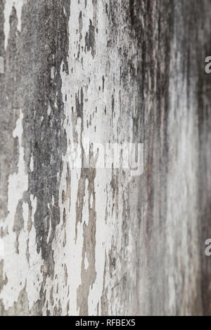 Side view of a weathered and old gray concrete wall, plaster is partly peeled off. Selective focus, shallow depth of field. - Stock Photo