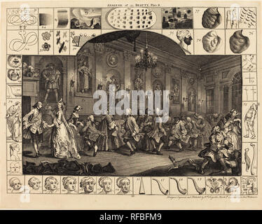 Analysis of Beauty: pl.2. Dated: 1753. Medium: etching and engraving. Museum: National Gallery of Art, Washington DC. Author: William Hogarth. - Stock Photo