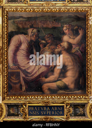 Allegory of San Giovanni Valdarno. Date/Period: 1563 - 1565. Oil painting on wood. Height: 250 mm (9.84 in); Width: 250 mm (9.84 in). Author: Giorgio Vasari. VASARI, GIORGIO.
