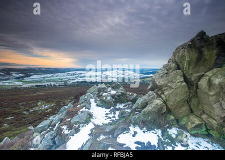 Snowfall on Stiperstones in Shropshire, UK during the snow of January 2019.  Looking at the natural Ice Age rock formation overlooking the county - Stock Photo