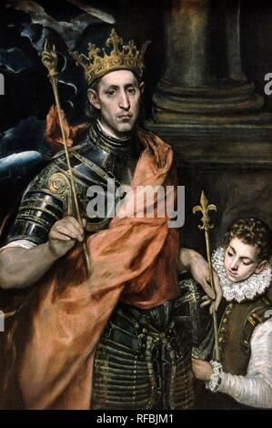 Domenikos Theotokopoulos, El Greco (1541-1614). Painter. Spanish Renaissance. Saint Louis, King of France, and a Page. 1585-1590. Museum Louvre. Paris. France. - Stock Photo