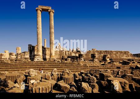 Ionian columns Apollo temple. Didyma, Aydin Province, Turkey - Stock Photo