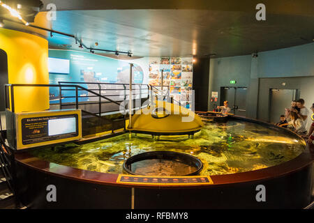 Cherbourg, France - August 26, 2018: Exhibition of the maritime museum La Cite de La Mer or City of the Sea in Cherbourg, France. - Stock Photo
