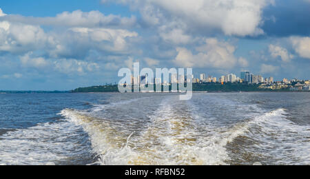 Beautiful Maputo skyline taken from a boat trip to Portuguese Island - Stock Photo