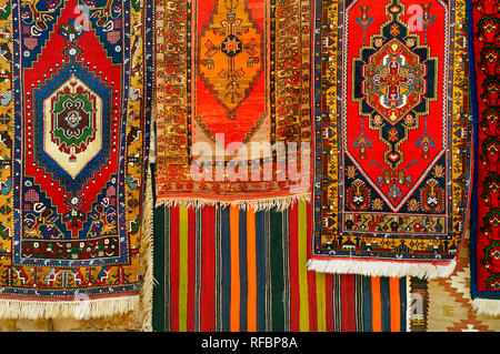 Kilim and turkish carpets. Cappadocia. Central Anatolia Region, Turkey - Stock Photo