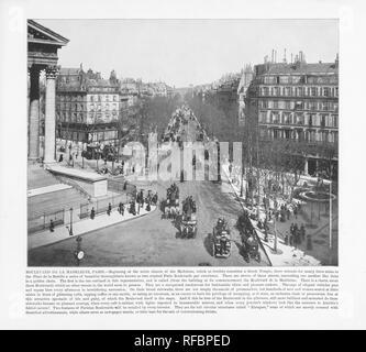 Boulevard De La Madeleine, Antique Paris Photograph, 1893 - Stock Photo