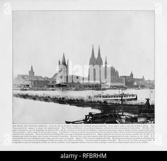 The Rhine and Cologne, Germany, Antique German Photograph, 1893 - Stock Photo