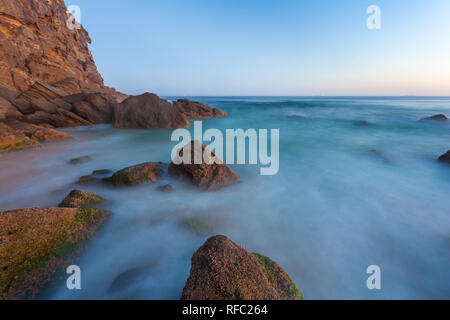 Long exposure seascape at sunset at Redhead Beach - Newcastle Australia. Redhead is one of the popular beaches in the Newcastle Region a few hours nor - Stock Photo