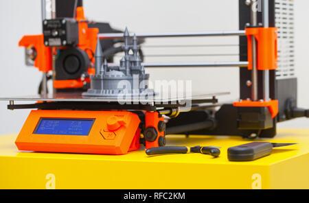 Close up printing detail three dimensional printer - Stock Photo
