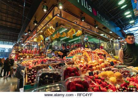 A fresh fruit stall in La Boqueria, Barcelona City, Spain - Stock Photo