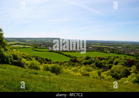 View of Princes Risborough from the top of Whiteleaf Hill, Whiteleaf Cross, Buckinghamshire, UK. - Stock Photo
