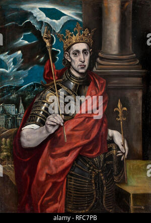 San Luis, rey de Francia / St Louis, King of France. Date/Period: Ca. 1615-1630. Painting. Oil on canvas. Height: 128 cm (50.3 in); Width: 90 cm (35.4 in). Author: GRECO, EL. EL GRECO. - Stock Photo