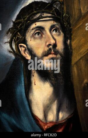 El Greco (1541-1614). Cretan painter. Christ with the Cross, 1590-1595. National Art Museum of Catalonia. Barcelona. Catalonia. Spain. - Stock Photo