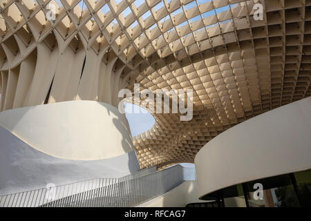 Seville, Andalusia, Spain. Metropol Parasol, a wooden structure in the old quarter of Seville. Europe - Stock Photo