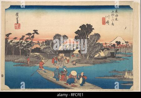 Ferry Boat Crossing the Rokugo River. Artist: Utagawa Hiroshige (Japanese, Tokyo (Edo) 1797-1858 Tokyo (Edo)). Culture: Japan. Dimensions: 9 15/32 x 14 3/4 in. (24.1 x 37.5 cm). Date: ca. 1834. Museum: Metropolitan Museum of Art, New York, USA. - Stock Photo