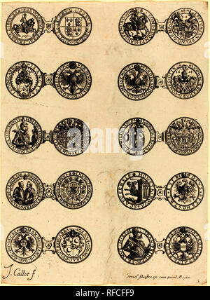 Coins [plate 5]. Medium: etching. Museum: National Gallery of Art, Washington DC. Author: JACQUES CALLOT. - Stock Photo