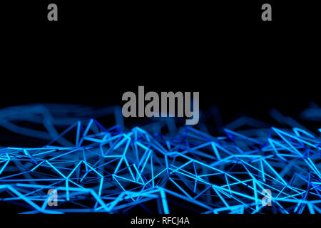 Close-up Of Abstract Blue Polygonal Surface On Blue Background - Stock Photo