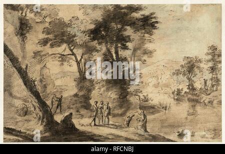 Landscape with the baptism of the eunuch. Draughtsman: Herman van Swanevelt. Dating: 1630 - 1639. Measurements: h 201 mm × w 317 mm. Museum: Rijksmuseum, Amsterdam. - Stock Photo
