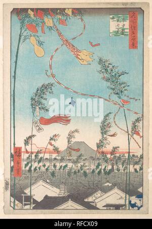 The Tanabata Festival, from the series One Hundred Famous Views of Edo. Artist: Utagawa Hiroshige (Japanese, Tokyo (Edo) 1797-1858 Tokyo (Edo)). Culture: Japan. Dimensions: 14 x 9 3/5 in. (35.6 x 24.4 cm). Date: 1857. Museum: Metropolitan Museum of Art, New York, USA. - Stock Photo