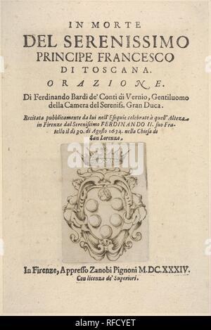 Title page 2: Medici coat of arms in bottom center, from 'In Morte del Serenissimo Principe Francesco di Toscana, Orazione'. Artist: Stefano della Bella (Italian, Florence 1610-1664 Florence). Author: Ferdinando Bardi de' Conti de Vernio. Dimensions: sheet: 8 7/8 x 5 7/8 in. (22.5 x 14.9 cm)  mount: 10 13/16 x 7 3/4 in. (27.5 x 19.7 cm). Publisher: Zanobi Pignoni. Date: 1634. Museum: Metropolitan Museum of Art, New York, USA. - Stock Photo
