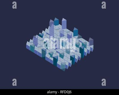 Infographics with translucent prisms of different lengths. Vector illustration. Isometry - Stock Photo
