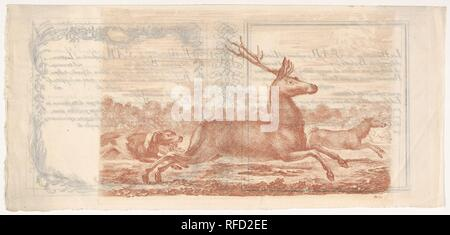 Stag and doe running towards the right, two dogs behind them to left, from 'Hunts of various animals' (Chasses à différents animaux). Artist: Stefano della Bella (Italian, Florence 1610-1664 Florence). Dimensions: Sheet: 6 5/16 x 13 1/4 in. (16 x 33.7 cm)  Plate: 5 15/16 x 8 15/16 in. (15.1 x 22.7 cm). Series/Portfolio: 'Hunts of various animals' (Chasses à différents animaux). Date: ca. 1651-57. Museum: Metropolitan Museum of Art, New York, USA. - Stock Photo