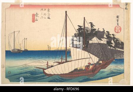 Station Forty-Three: Kuwana, Seven-Ri Ferry at the Port, from the Fifty-Three Stations of the Tokaido. Artist: Utagawa Hiroshige (Japanese, Tokyo (Edo) 1797-1858 Tokyo (Edo)). Culture: Japan. Dimensions: H. 9 3/8 in. (23.8 cm); W. 14 7/8 in. (37.8 cm). Date: ca. 1833-34.  The two boats in the foreground are about to reach the Kuwana port after a two-hour journey from Miya, the present-day city of Atsuta. The imposing castle of Kuwana is a landmark for travelers in the boats that float on a deep blue sea raising whitecaps. Museum: Metropolitan Museum of Art, New York, USA. - Stock Photo