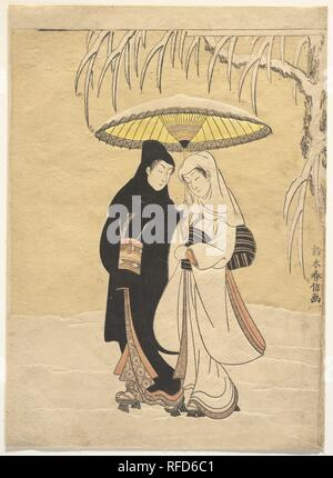 Lovers Walking in the Snow (Crow and Heron). Artist: Suzuki Harunobu (Japanese, 1725-1770). Culture: Japan. Dimensions: H. 11 1/4 in. (28.6 cm); W. 8 1/8 in. (20.6 cm)  medium-size print (chu-ban). Date: 1764-72.  Of all ukiyo-e prints of lovers, this one creates the most romantic and melancholic mood. Harunobu emphasizes the intimacy of two lovers strolling in the snow, even suggesting perhaps a michiyuki, a path to a love suicide. The couple walk together in the quietly falling snow, in what is known as an ai ai gasa pose, literally, the sharing of an umbrella and love.   Harunobu, the origi - Stock Photo