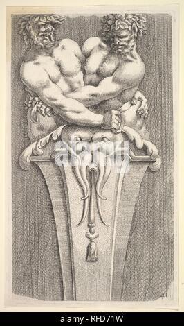 Design for a Term with Two Bacchic Figures, from: Curieuses recherches de plusieurs beaus morceaus d'ornemens antiques et modernes (...). Artist: Jean Le Pautre (French, Paris 1618-1682 Paris); After Adam Philippon (French, active 1640-50). Dimensions: sheet: 9 3/8 x 5 3/8 in. (23.8 x 13.7 cm)  plate: 9 1/16 x 5 1/8 in. (23 x 13 cm). Date: 1645. Museum: Metropolitan Museum of Art, New York, USA. - Stock Photo