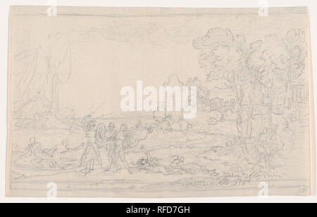 Rinaldo Rescued from Armida. Artist: Benjamin West (American, Swarthmore, Pennsylvania 1738-1820 London). Dimensions: Sheet: 7 9/16 × 12 1/8 in. (19.2 × 30.8 cm). Date: 1766-1800.  West's sketch illustrates 'Jerusalem Liberata,' an epic poem by Torquato Tasso published in 1581. The story tells of the crusader knight Rinaldo kidnapped by Armida, a sorceress, who takes him to a magical island where the two fall in love. Eventually, the knight's companions Carlo and Ubaldo find him, break the spell, and enable Rinaldo to return to battle. Here, the knight's friends urge him to board a skiff as Ar - Stock Photo