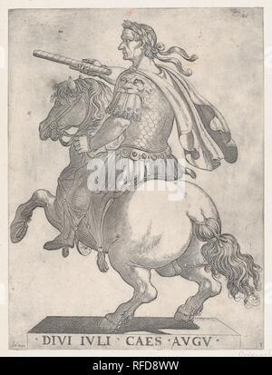 Plate 1: Emperor Julius Caesar on Horseback, from 'The First Twelve Roman Caesars'. Artist: Antonio Tempesta (Italian, Florence 1555-1630 Rome). Dimensions: Sheet: 11 7/8 × 8 7/8 in. (30.2 × 22.5 cm). Publisher: Giovanni Battista di Lazzaro Panzera da Parma (Italian, born 1541, active Rome 1577-98). Date: 1596. Museum: Metropolitan Museum of Art, New York, USA. - Stock Photo