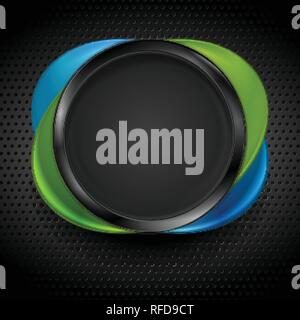 Black, green and blue glossy circle shapes on dark perforated metallic texture. Technology concept vector design - Stock Photo