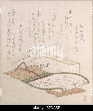 Kakemono and Its Box. Artist: Kubo Shunman (Japanese, 1757-1820). Culture: Japan. Dimensions: 8 x 7 3/16 in. (20.3 x 18.3 cm). Date: 18th-19th century. Museum: Metropolitan Museum of Art, New York, USA. - Stock Photo